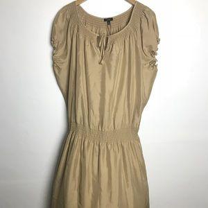 Talbots Silk Dress Smocked Trim Tied Neck Size XL